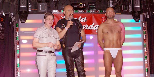 auctioneer Jo Arnone, Bucks MC VP JR & Mr. NJ Leather 2010 Damian Parra - photo by Joseph R. Saporito